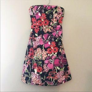 Lily pulitzer black flower strapless dress
